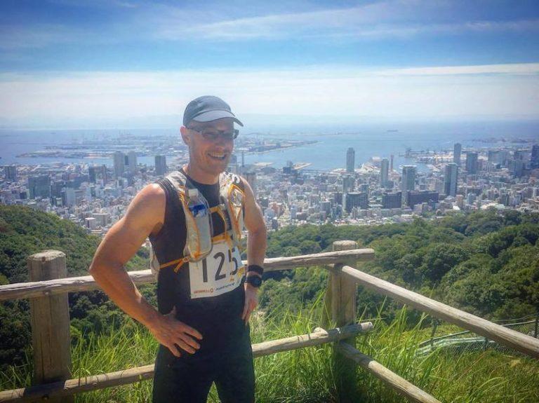 Male runner posing in Japan