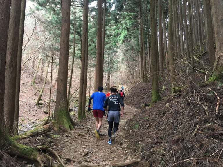 Trail runners on the Mt. Mitake trail