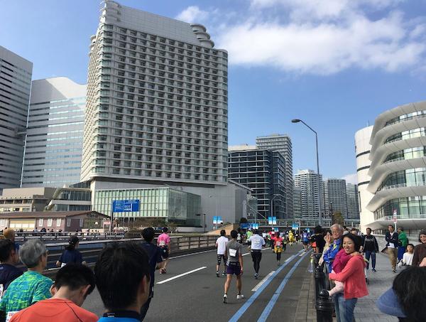 Runners on Yokohama road for marathon
