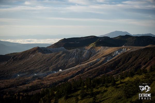 mountain range at shiga kogen extreme trail run
