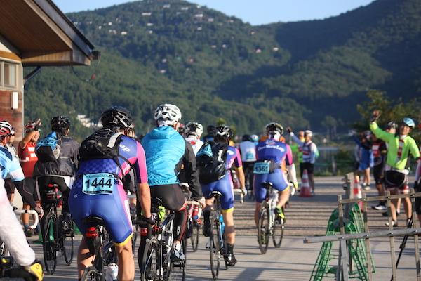 Mt Fuji Long Ride - cyclists at aid station