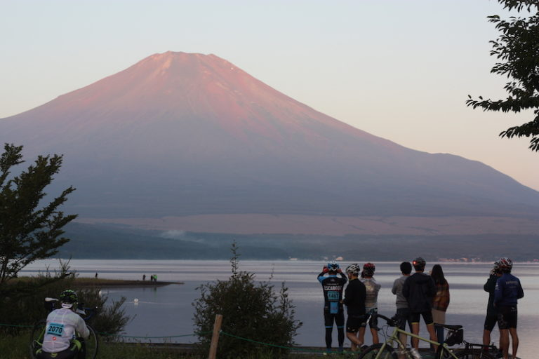 Mt. Fuji Long Ride - cyclists admiring Mt. Fuji