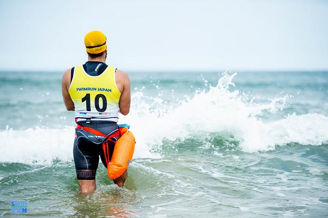 Athlete looking into distance at Marunuma Swimrun