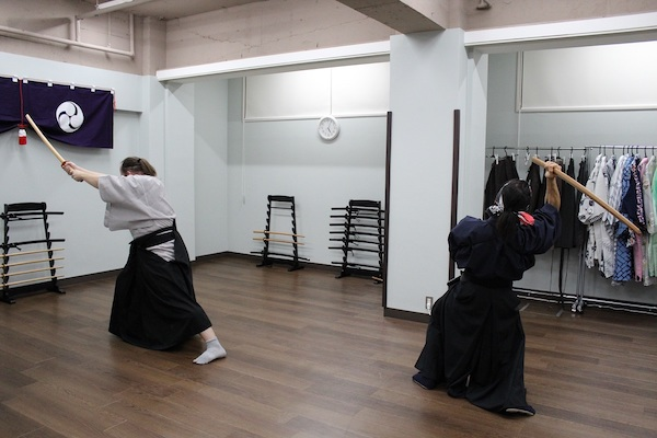 Practicing fighting scene