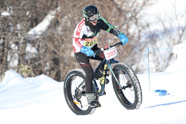 Cycling on snow in Hokkaido