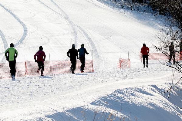 Running in snow on ski course in Hokkaido
