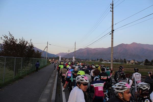 cyclist during Alps Azumino Century Ride - Sakura Group
