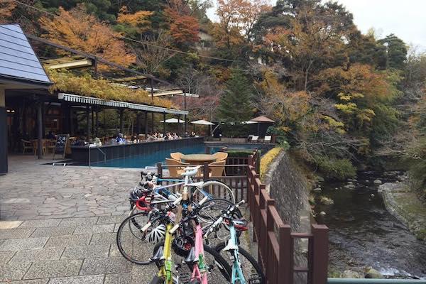 bikes next to pool