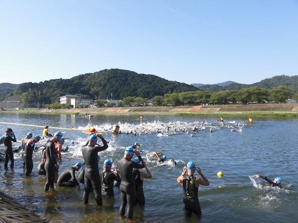 Swimming in river at Kyoto Tamba Triathlon