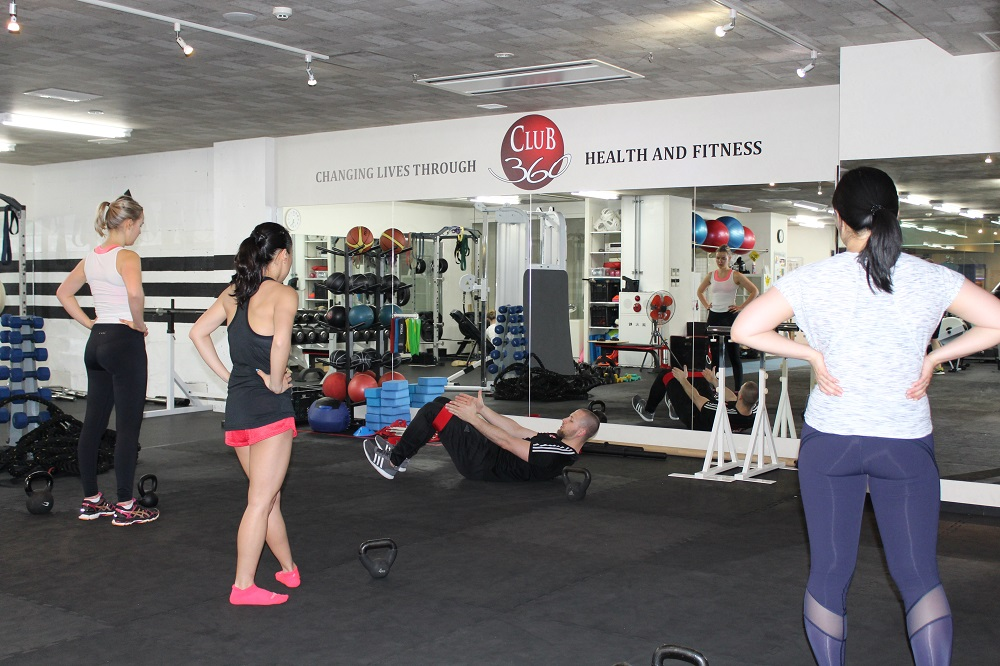 Working out at Club 360 in Japan
