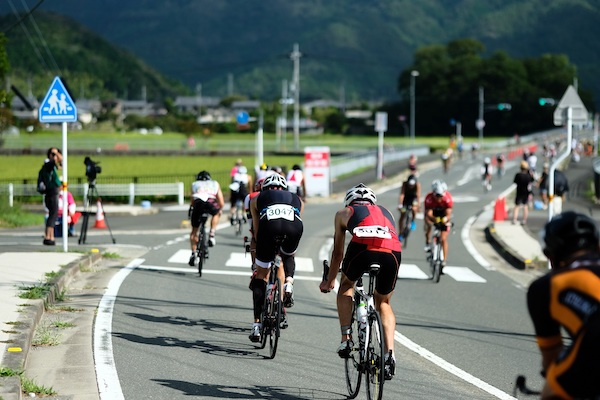 Cycling in Kyoto during triathlon