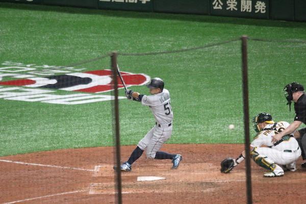 Ichiro finishing his swing