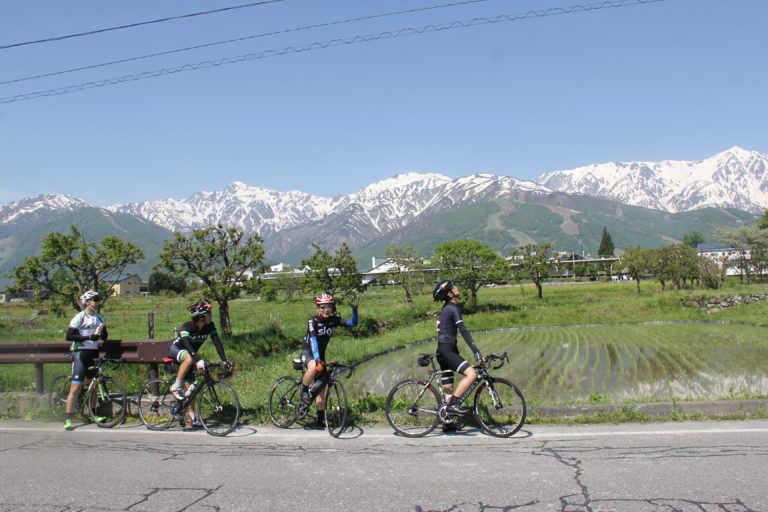Cyclists in Japan Alps