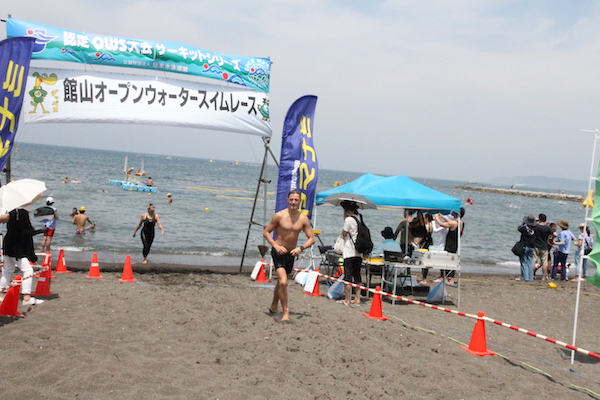 swimmer finishing Tateyama Open Water Swim