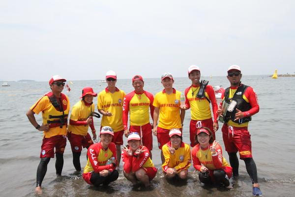 life guards at Tateyama Open Water Swim