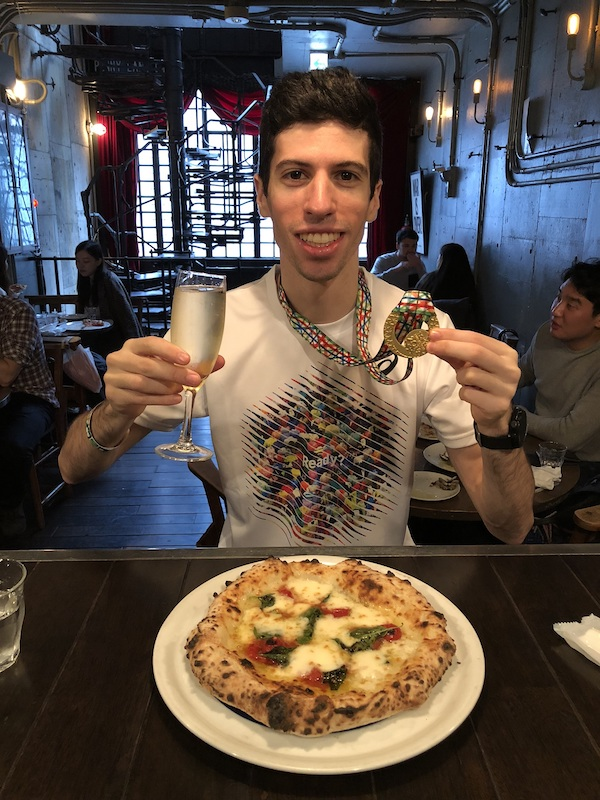 Dan eating a post race meal