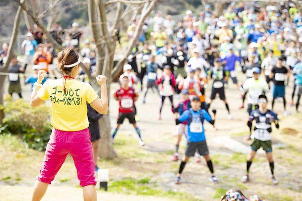 runners warming up before minami izu trail race