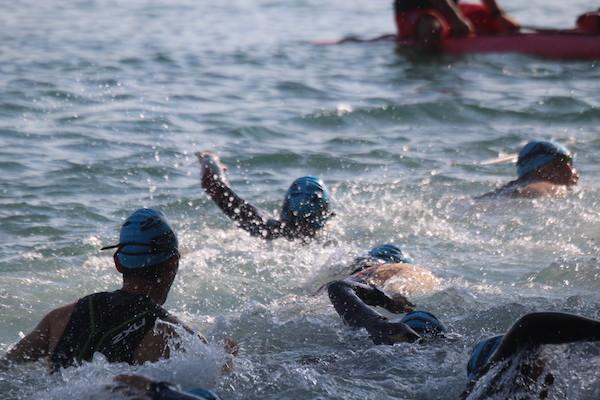 swimmers during Okinawa International Triathlon