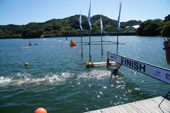 Susaki open water swim finish line