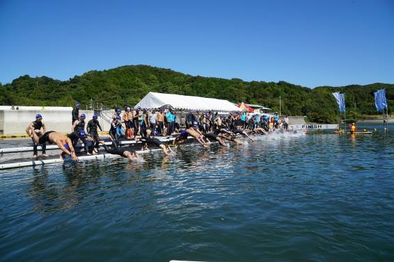 the start of the Susaki open water swim