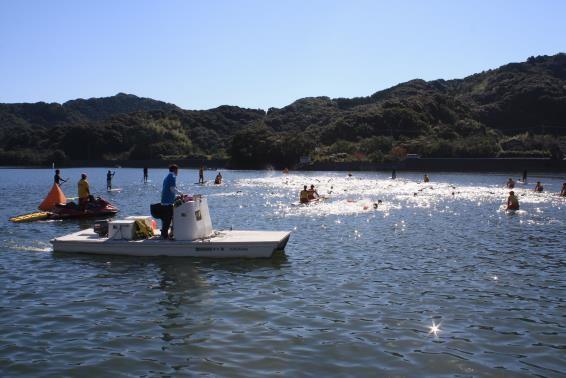 lifeguard watching swimmers during Susaki open water swim