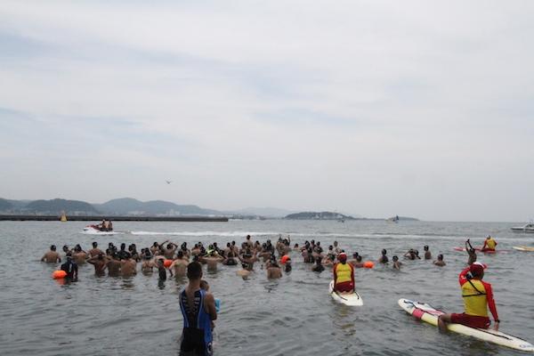 swimmers before the start of Tateyama open water swim
