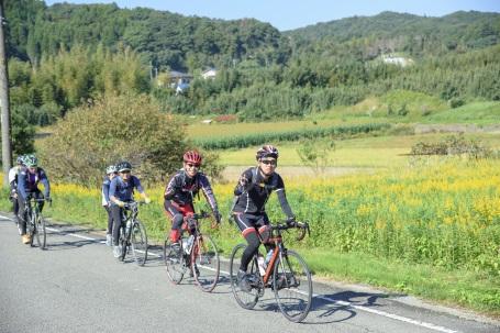 cyclist riding through minami boso