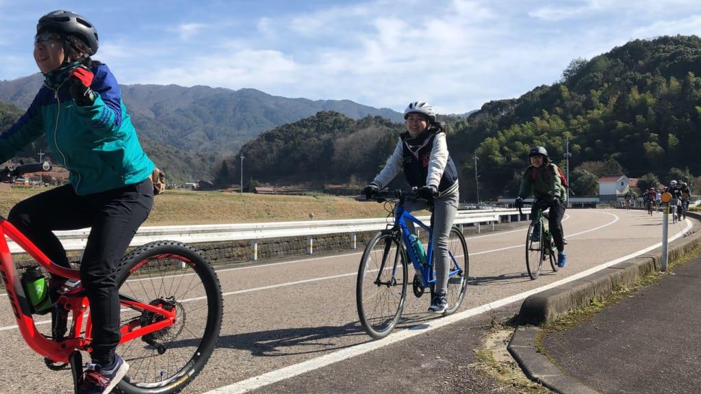 Women cycling in Japan