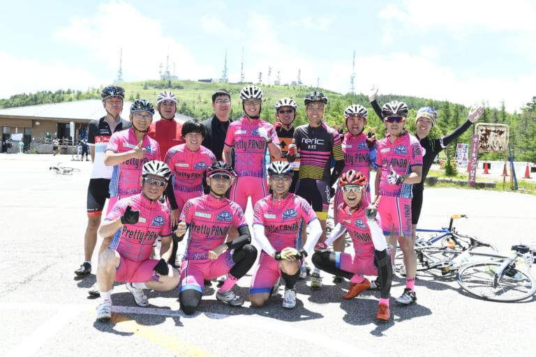 Group of cyclists in Nagano at the 2019 Tour de Utsukushigahara