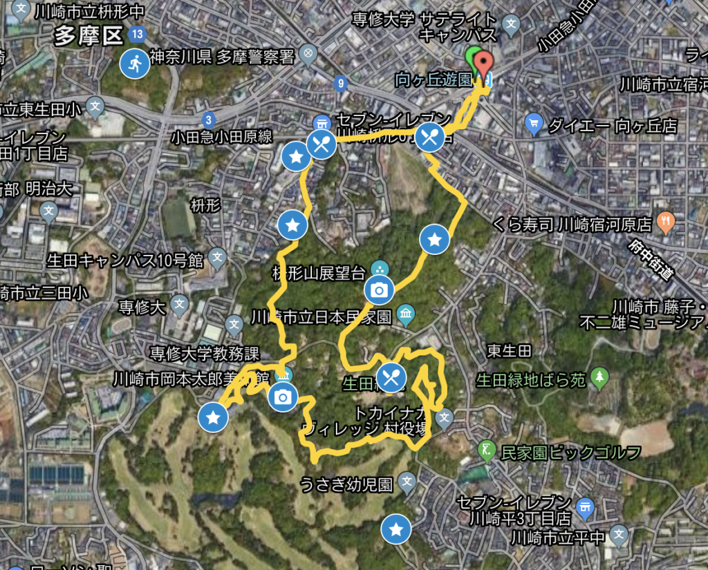 The Miniature Peaks of Ikuta Ryokuchi Park map