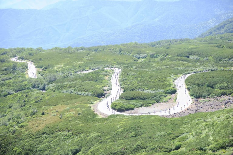 A view of the switchbacks in Nagano Prefecture