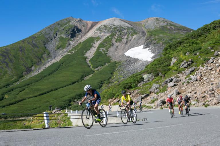 Cyclists in Norikura, Nagano