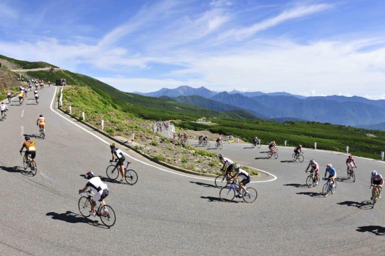Switchbacks at the Norikura Hill Climb bike race
