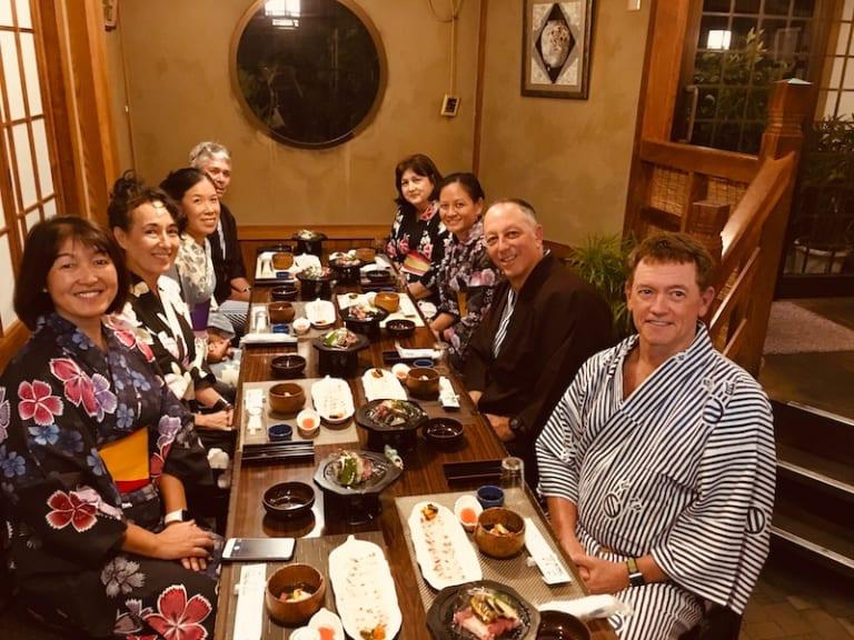 eating dinner in tsuwano hotel