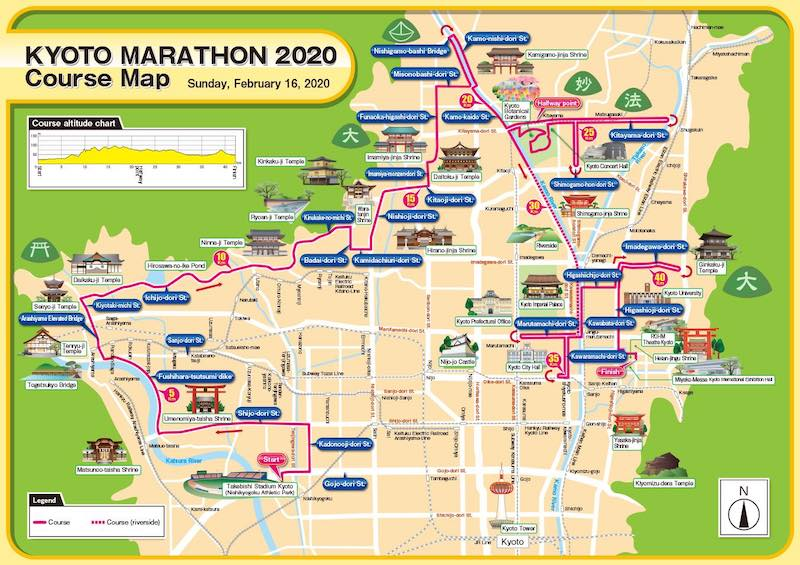 2020 Kyoto Marathon course map