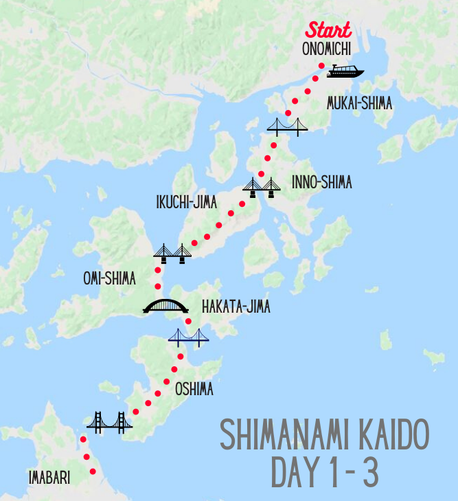 Shimanami Kaido bike tour map