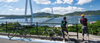 Cyclists admiring a bridge on the Shimanami Kaido