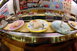 Sushi train (kaiten zushi) in Japan