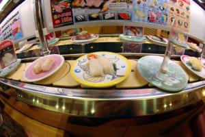 Sushi train (kaiten zushi) in Japan
