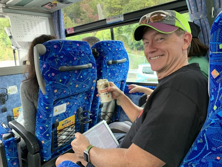 Beer to go on bus in Japan