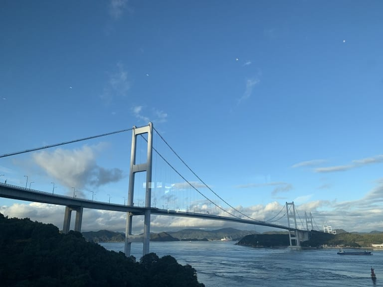 Kurushima Kaikyo bridge on sunny day