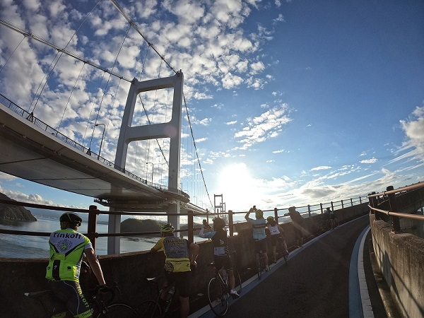 Shimanami Kaido silhouette of cyclists