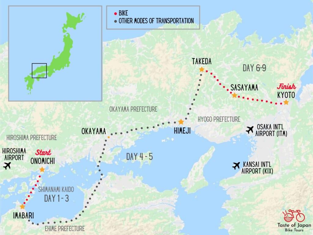 Bike tour map of Shimanami Kaido and western Japan