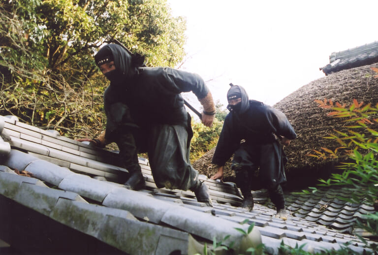 Two stealthy ninjas on a roof